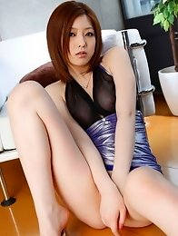 Beauty japanese girl Ai Haneda in black stockings shows her hairy pussy