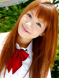 redhead japanese girl Hinano Momosaki in school uniform outdoors